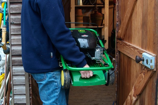 How to clean and repair your garden shed - marking your lawnmower