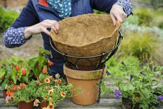 adding-coir-liner-to-hanging-basket