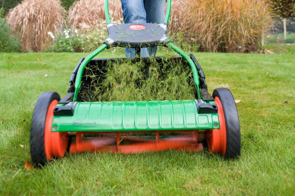 Mowing a lawn with a cylinder mower