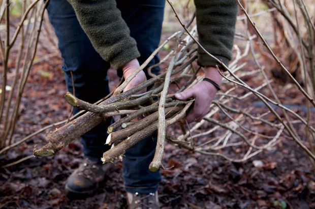 Collecting bundles of small branches and twigs