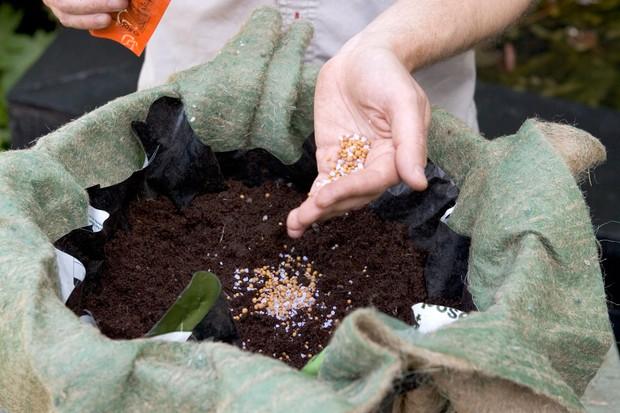 Adding slow-releaser fertiliser to the compost