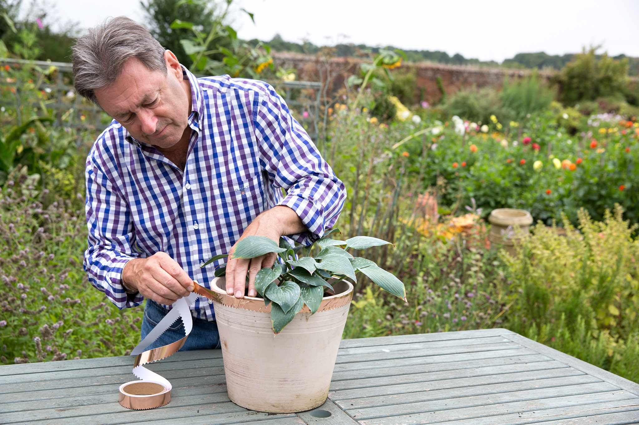 Alan Titchmarsh applying copper tape to a pot