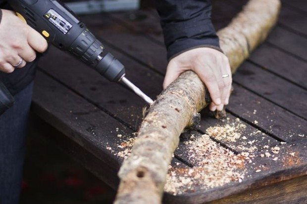 Drilling holes in the log