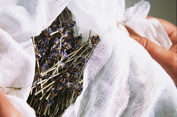 Tying lavender in a muslin bag