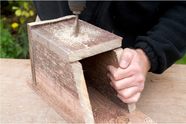 Hinged nest box - adding the hole