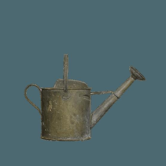 Antique effect metal watering can