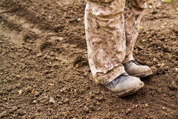 Firming the soil with your feet