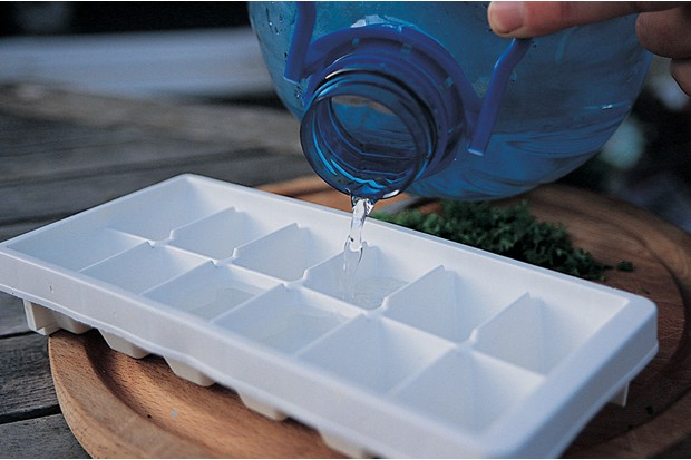 Adding water to the ice cube tray