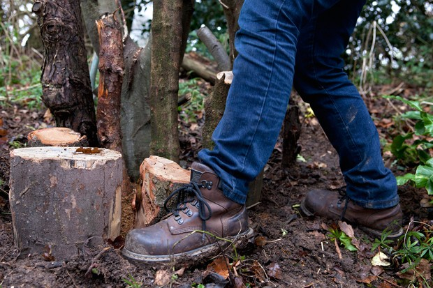 How to make a stumpery - firming the logs