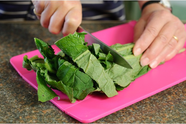 How to make comfrey ointment - chopping the leaves