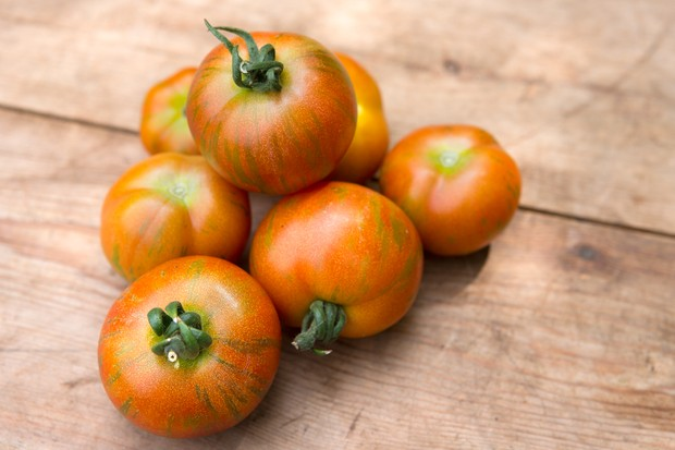 Unusual red and green stripy 'Tigerella' tomatoes
