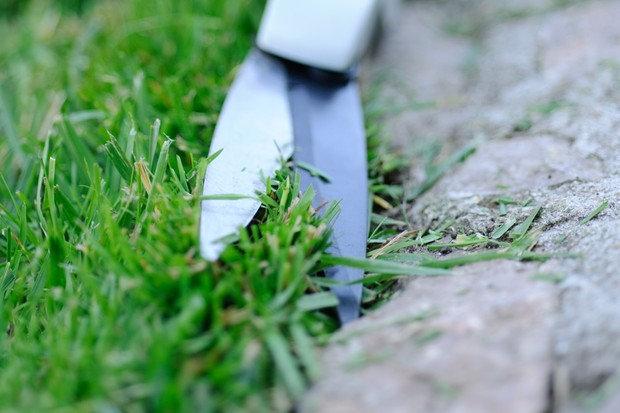 Edging a lawn with edging shears