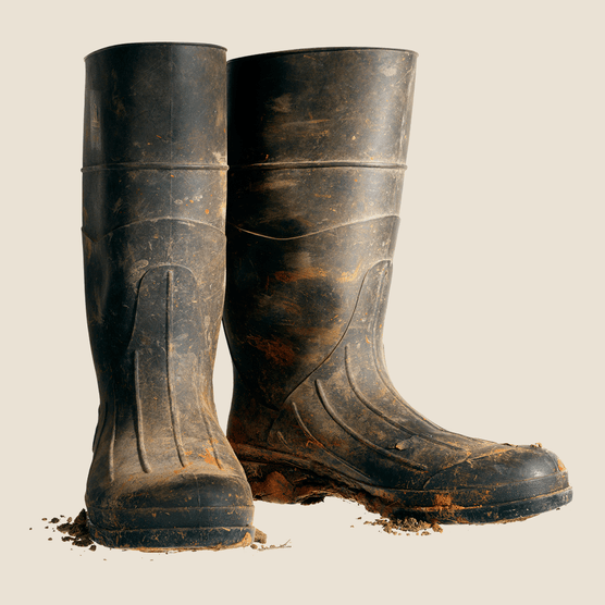 Muddy wellington boots