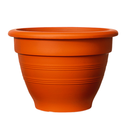 Plastic terracotta effect pot