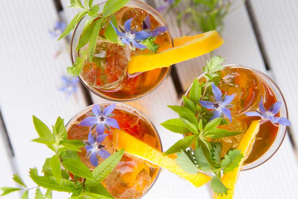 Drinks decorated with sprigs of mauve borage flowers and foliage