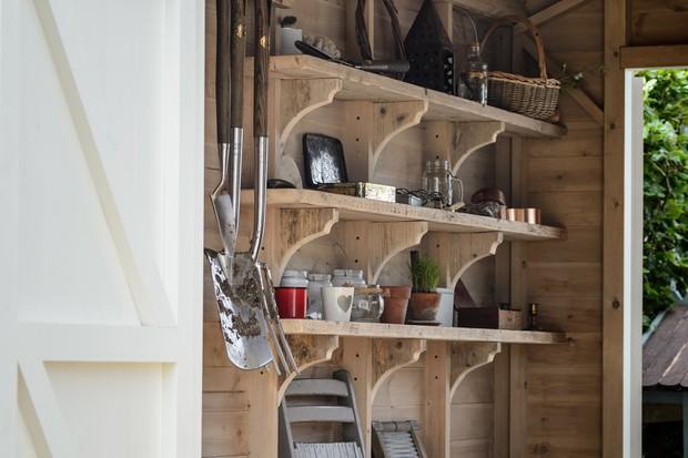 Tidy potting-shed shelves