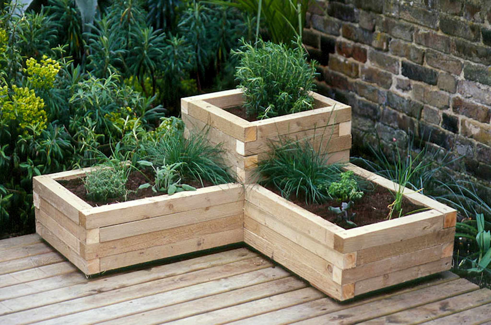 Tiered wooden planter