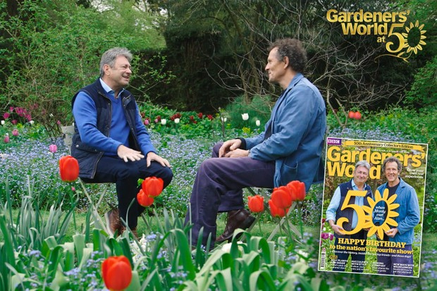 Monty and Alan talking together at the Gardeners' World Magazine 50th Anniversary cover shoot