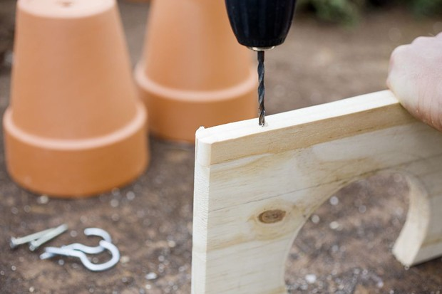 Build a plant display shelf - drilling a hole