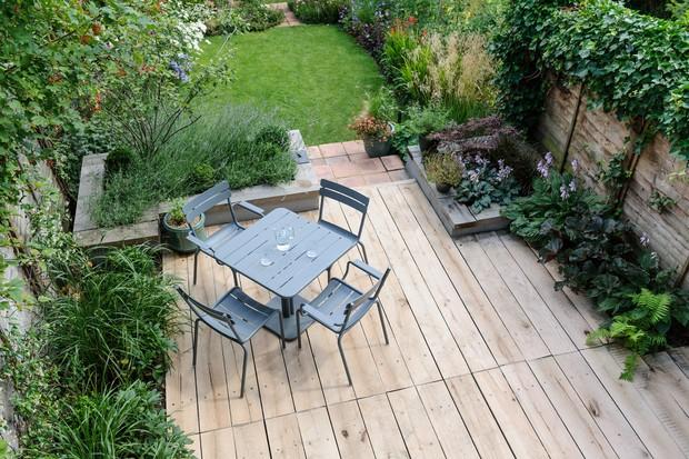 Wooden decking in a garden