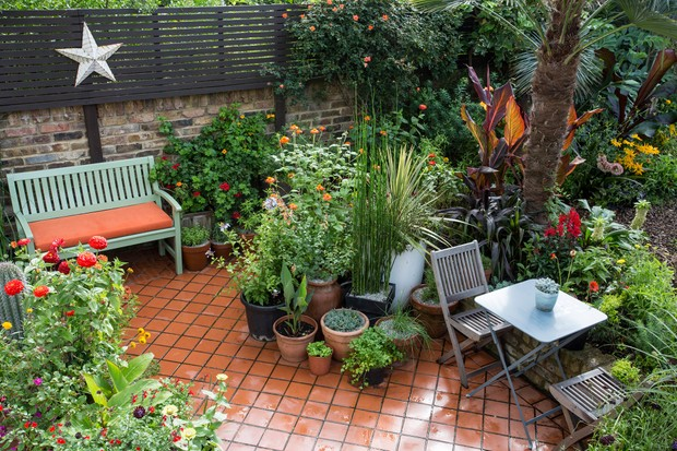 Garden patio with container planting