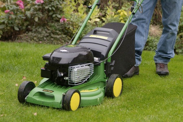Mower with a rear roller