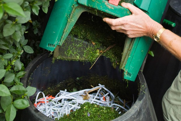 Adding grass clippings to a compost bin on top of paper and card shreddings