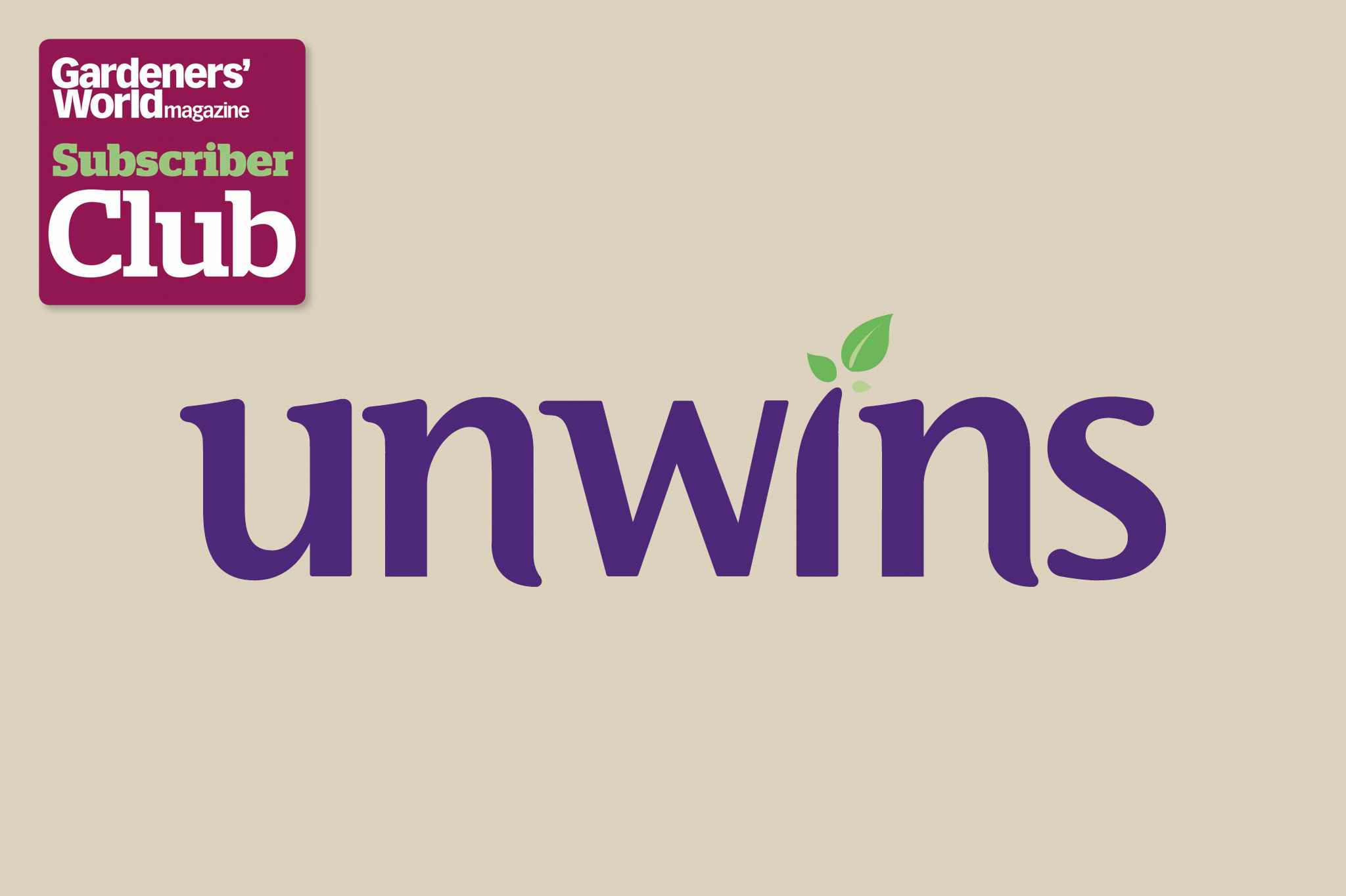 Unwins BBC Gardeners' World Magazine Subscriber Club discount