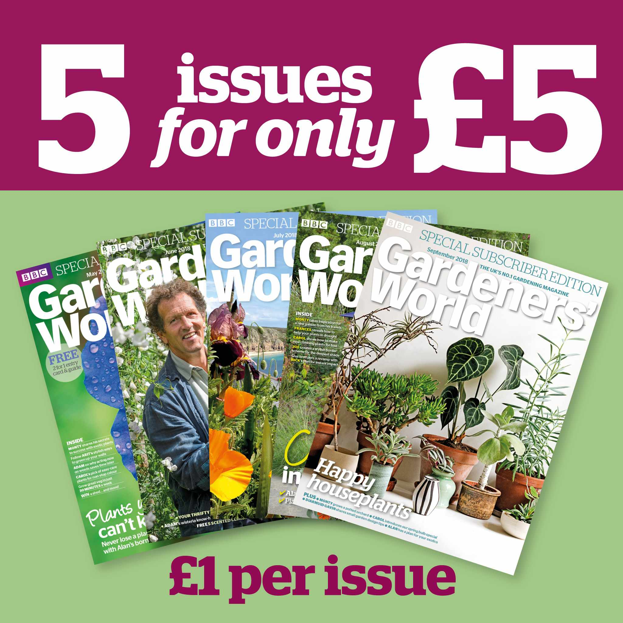 Gardeners' World Magazine Five issues for £5