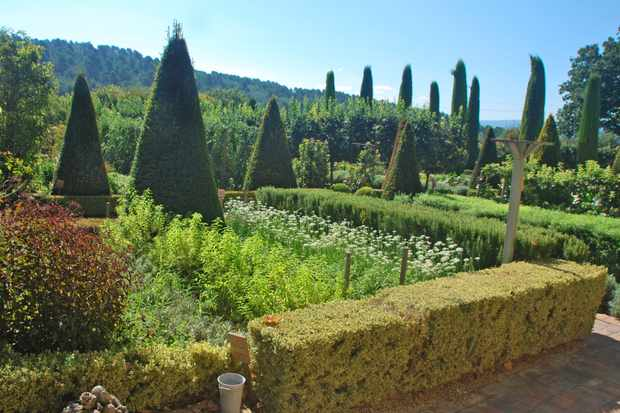 Topiary in the kitchen gardens of Val Joanis