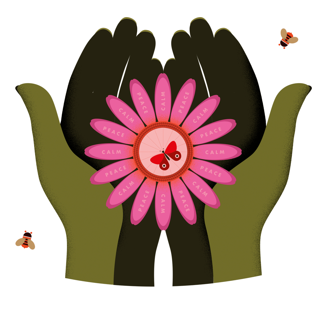 Grow Yourself Healthy hands holding flower