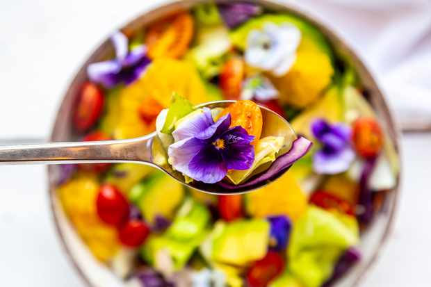 Edible flower salad. Getty Images.