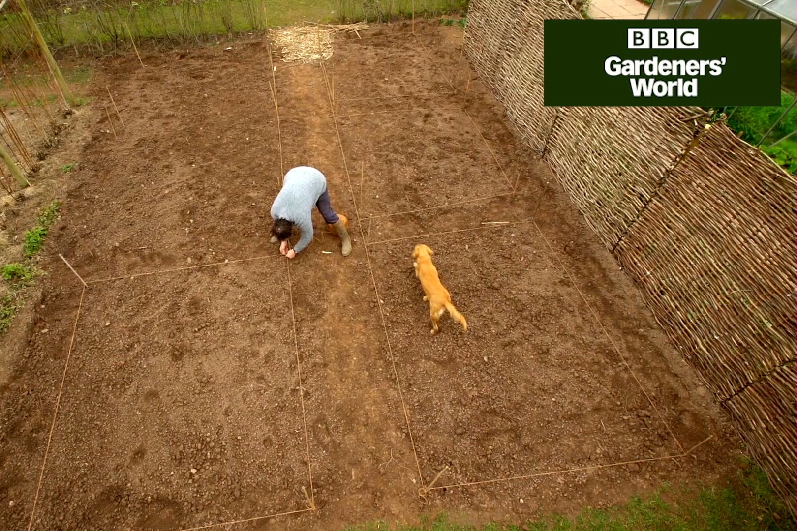 Monty Don marking out a new veg plot