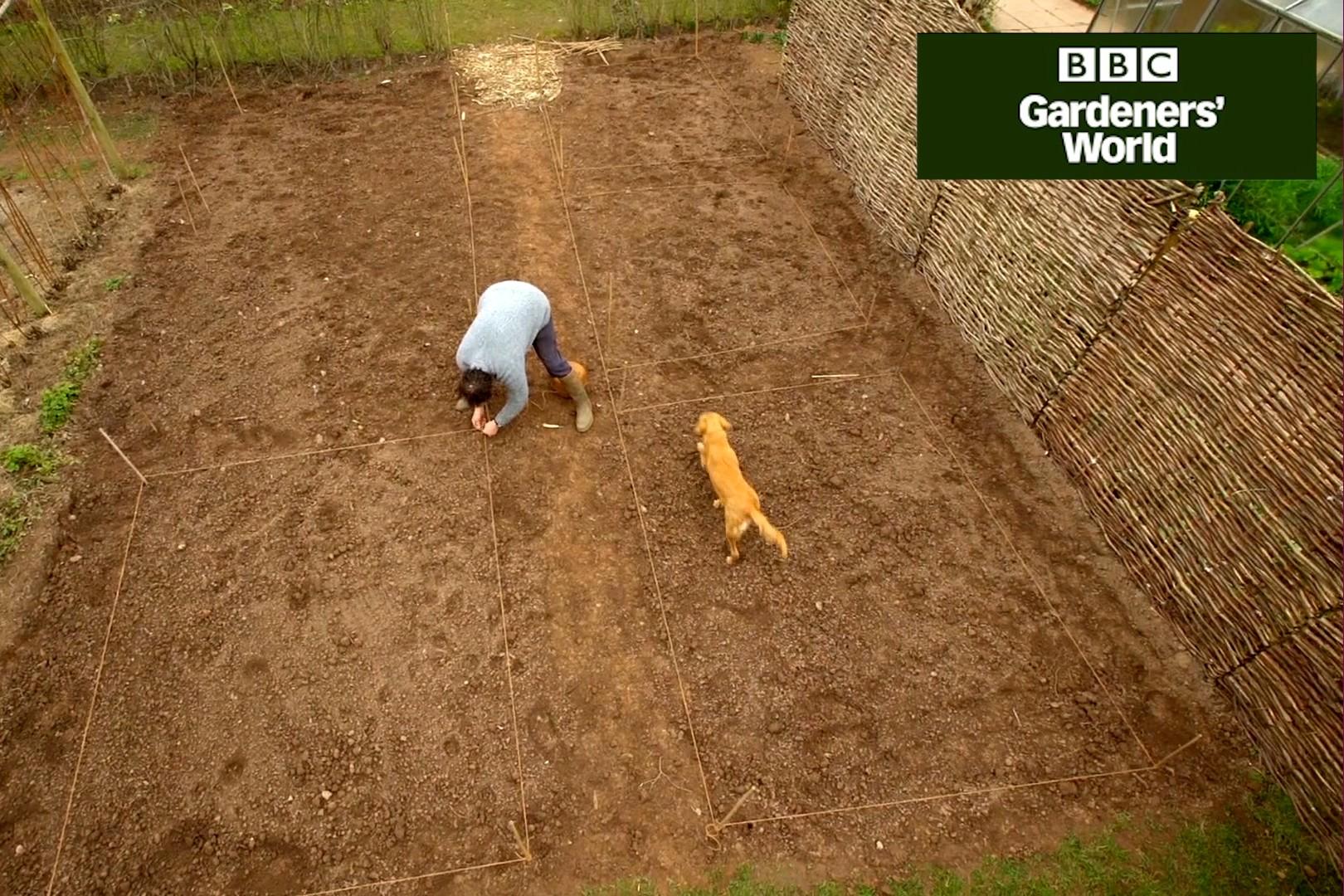 Monty Don marking out a new veg plot