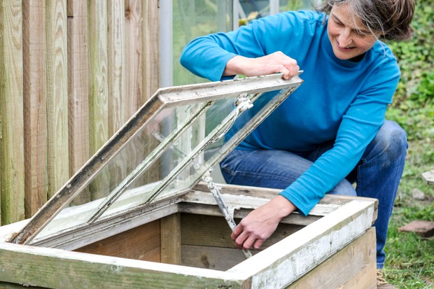 Thrifty tips - use an old window to make a cold frame