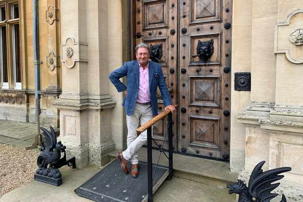 Alan at the entrance to Highclere Castle