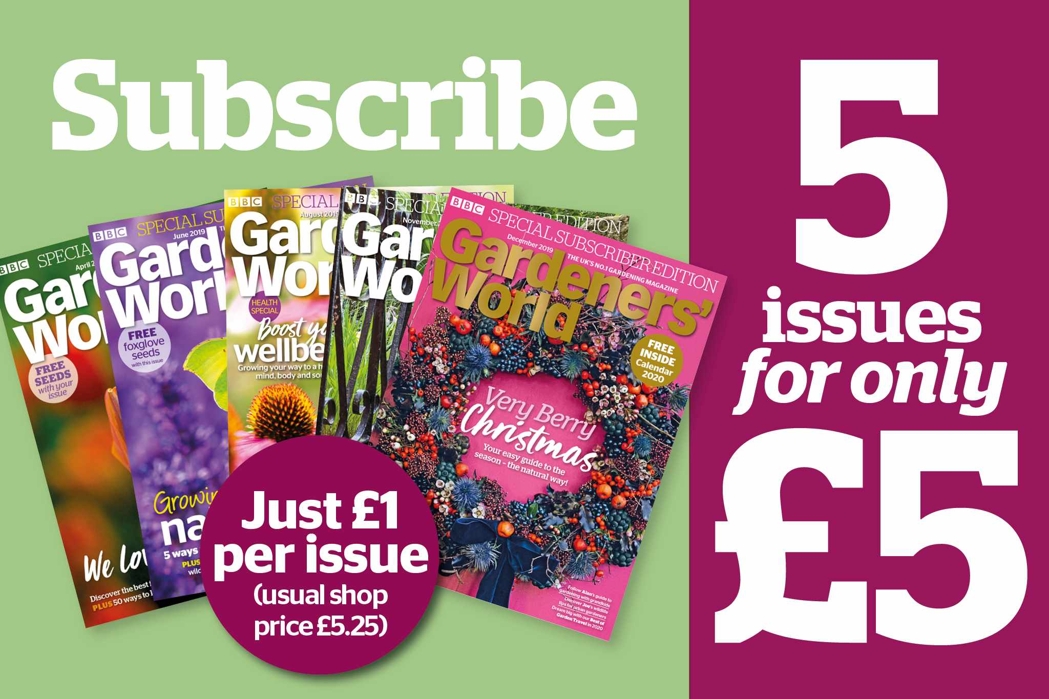Five issues for £5 - BBC Gardeners' World Magazine January 2020