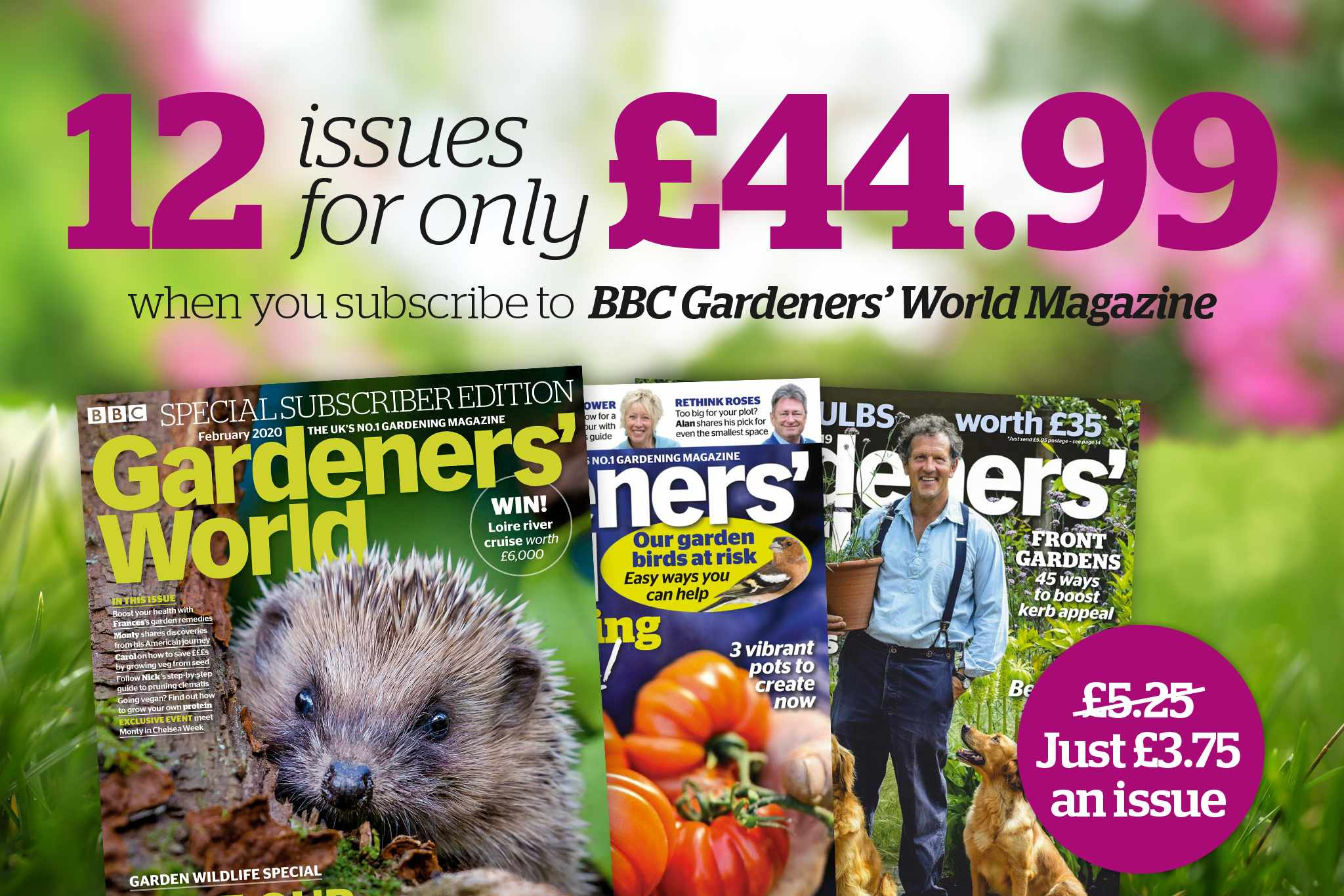 Get 12 issues of BBC Gardeners' World Magazine for £44.99