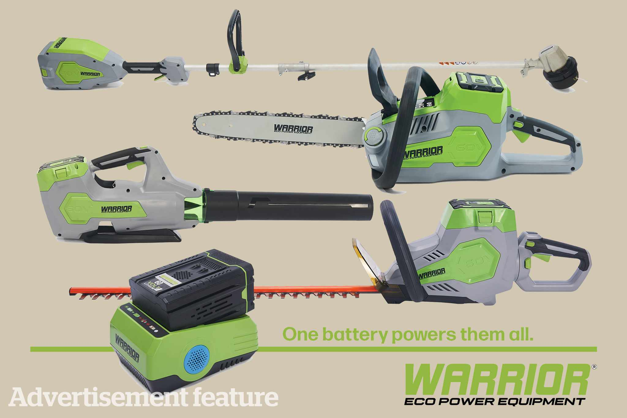 Win a collection of Warrior Eco cordless garden equipment
