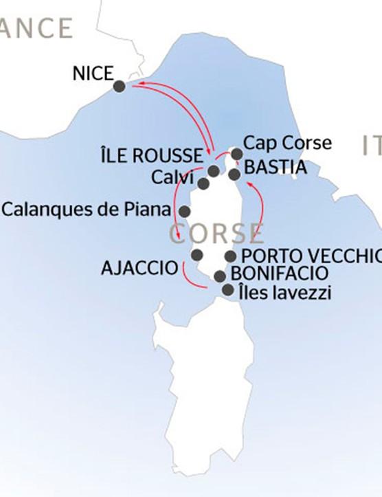 Corsica cruise route map