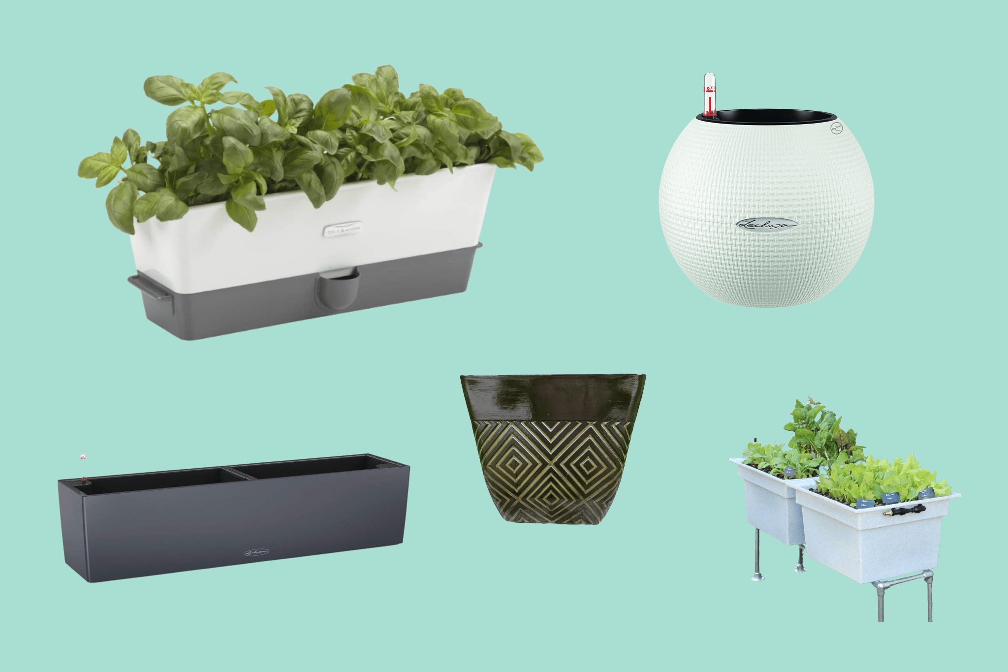 Modern Self Watering Planter 7/'/'H Decorative Flowers Pots for All Indoor Plants