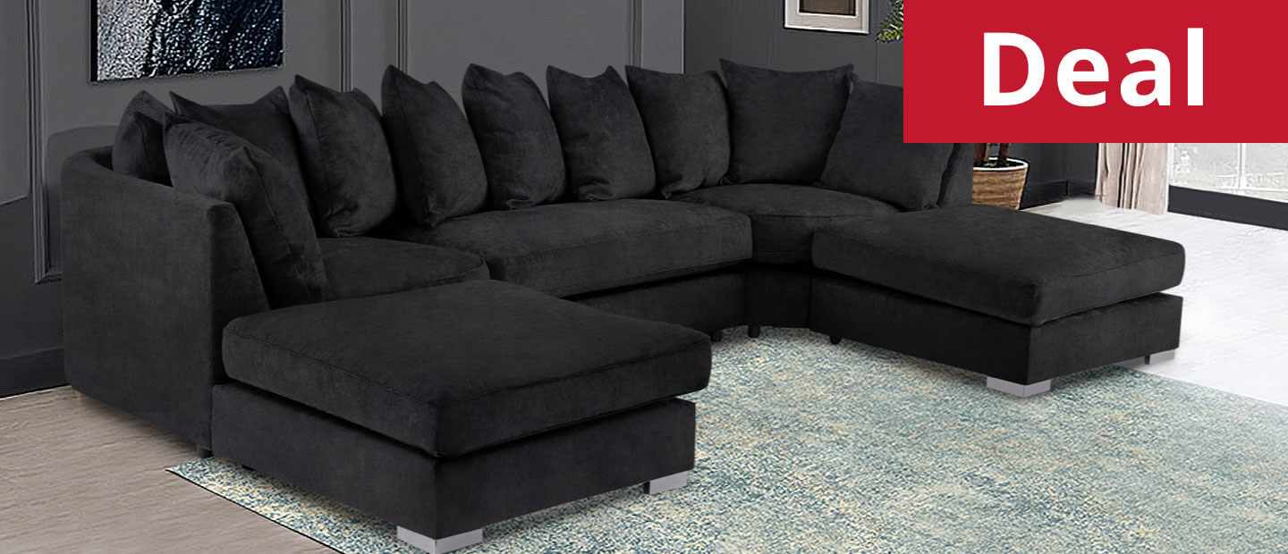 Brixton Large Corner U Shape Sofa Chenille Fabric with 2 removable footstool