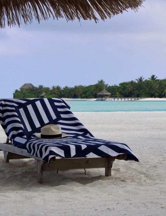 Beach towel on a sun lounger
