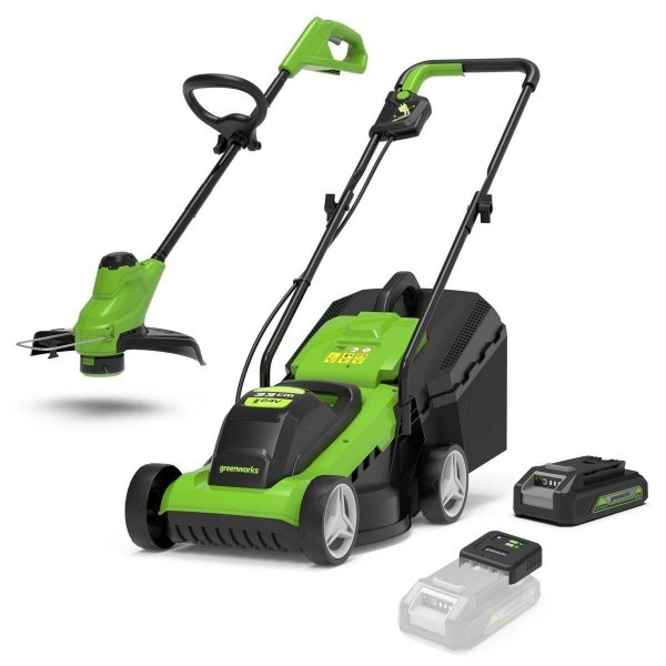 Greenworks Cordless Lawnmower & Trimmer Kit