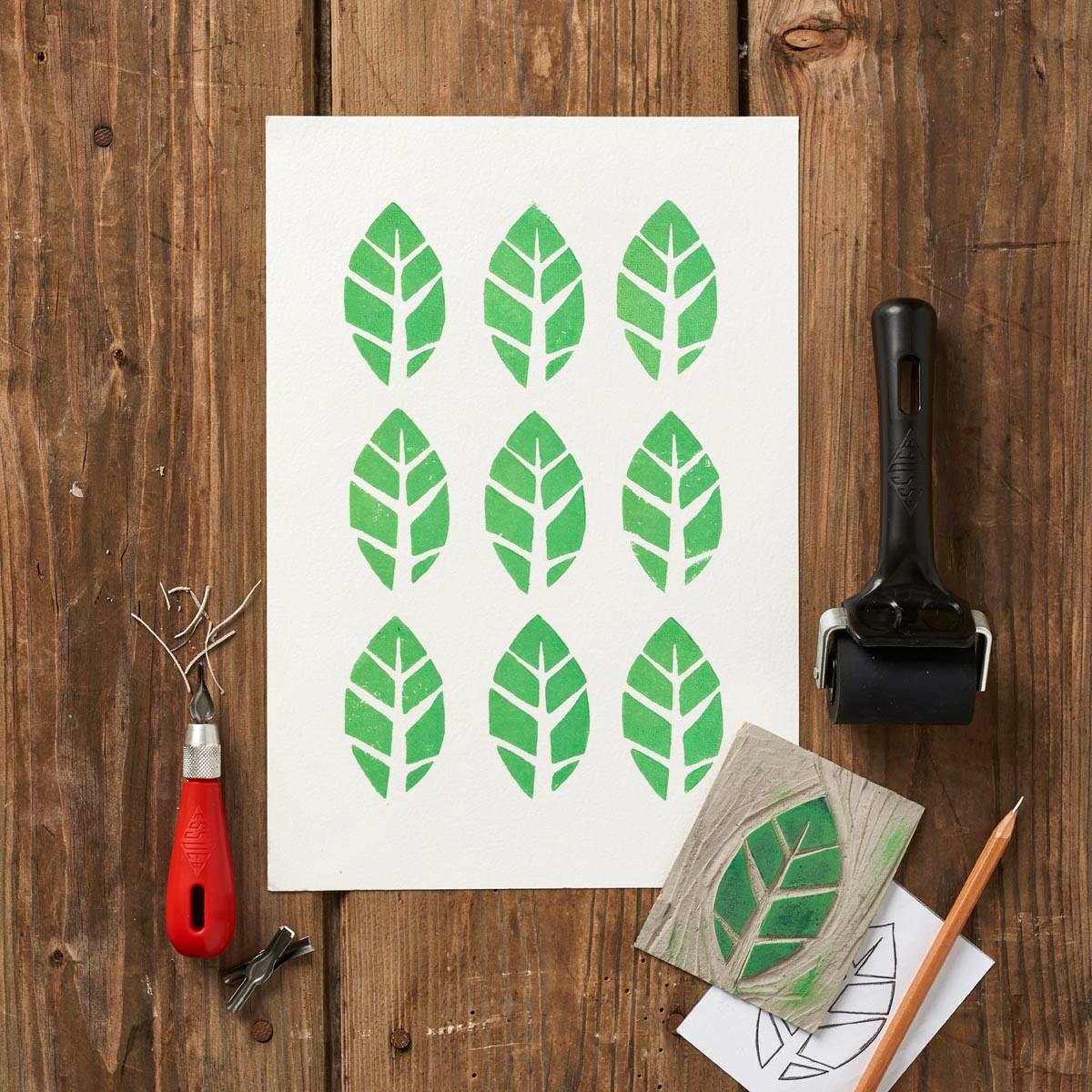 Linocut leaf stamp design