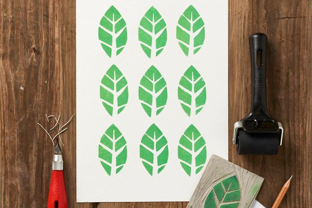 Linocut leaf stamp design