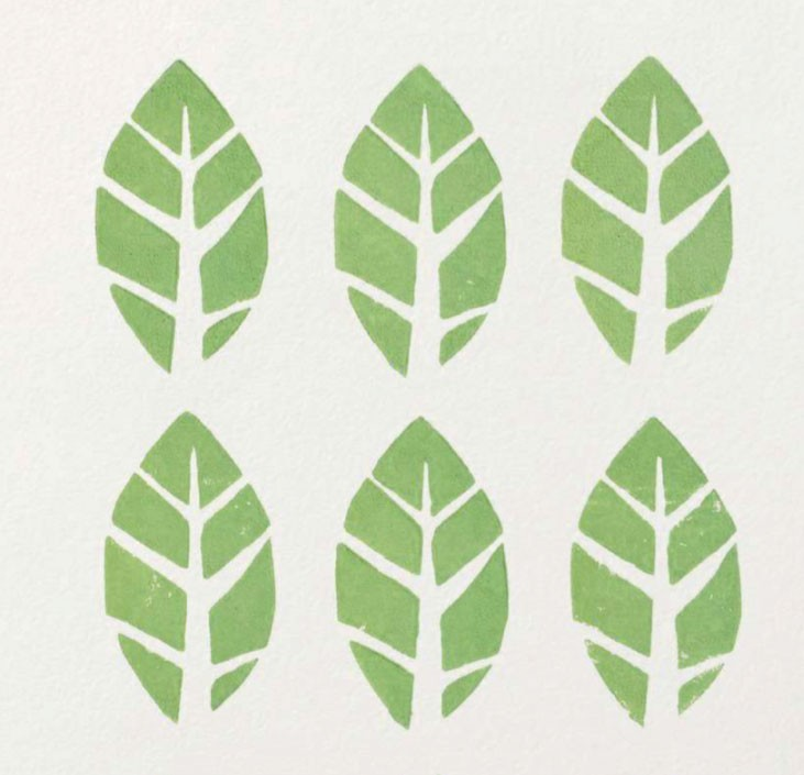 Linocut printed leaf stamps