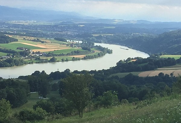 Cycling holiday - view from Maria Tafferl back down to the river Danube