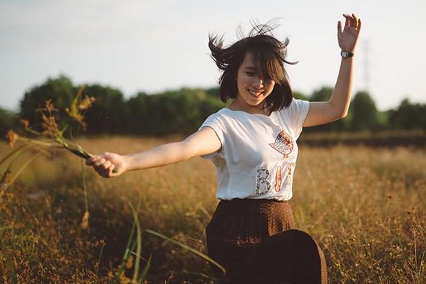 Happy dancing woman
