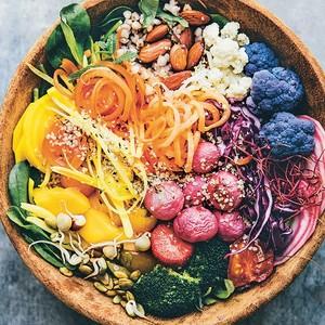Rainbow bowl food by Nina Olsson